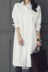 Fashion Casual Pure Color Long Shirt White s