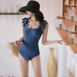 Sexy Halter Bikini One Piece Swimsuit Blue xl