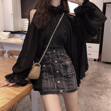 Fashion Shoulder Pure Color Loose Shirt With Leaf Edge