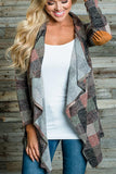 Asymmetric Neck  Gingham  Casual Cardigans same_as_photo l