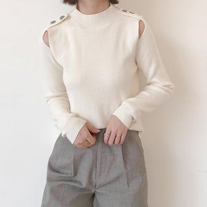 Autumn and winter   fashion pure color hollow sweater White one size