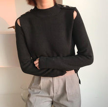Autumn and winter fashion pure color hollow sweater