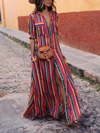 Bohemia Striped Shirt Maxi Dress RAINBOW S