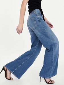 High Waist Wide Legs Jeans DARK BLUE XL