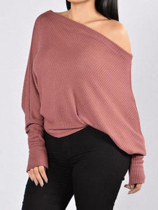 Fashion Solid Color Long Sleeves Sweater Tops SAME AS PICTURES L