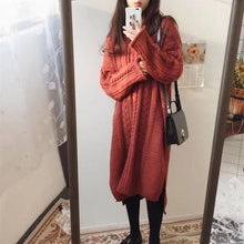 Casual Loose Long Sleeve Knitted Sweater Shown Thin Maxi Dress