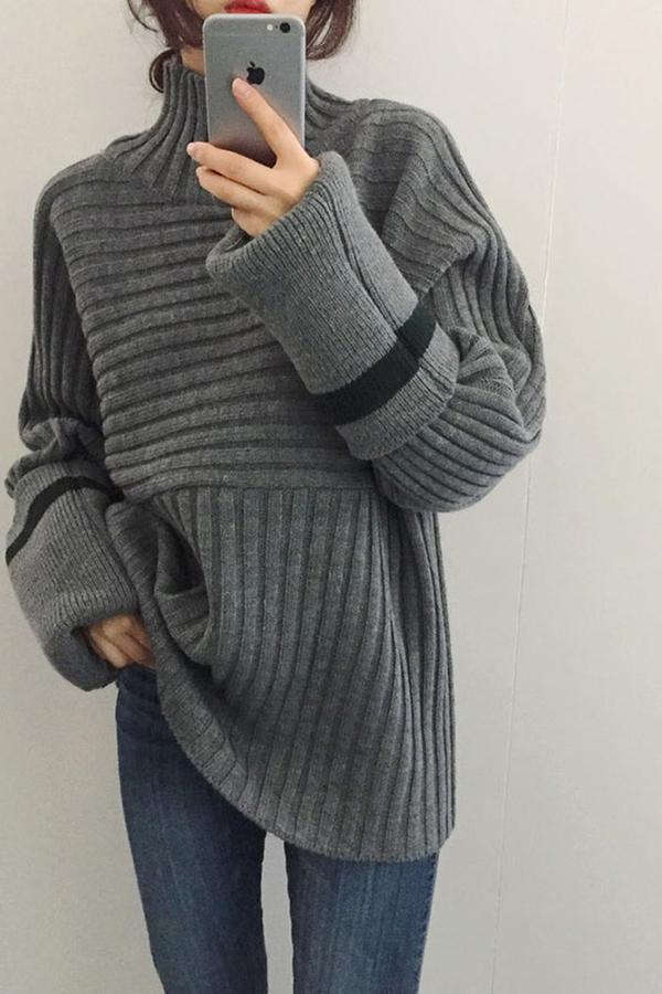 Casual To Add Long   Sleeve Turtleneck Turtleneck Knitting Sweater Gray one size