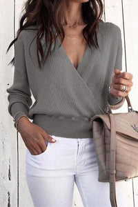 Sexy V Neck Long Sleeve Mini Knitting Sweaters gray l