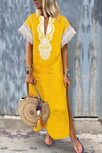Fashion Cotton\/Line Lace Causal Vintage Dress Maxi Dress yellow s