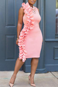 Crew Neck  Plain Bodycon Dress pink s