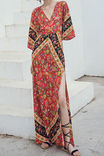 Fashion Vacation Bohemia Style V Neck Floral Print Maxi Dress