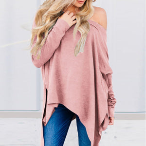 One Shoulder  Asymmetric Hem  Plain T-Shirts Pink 2xl