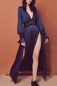 Sexy Deep V Neck Plain  Long Sleeve Maxi Dress dark_navy s