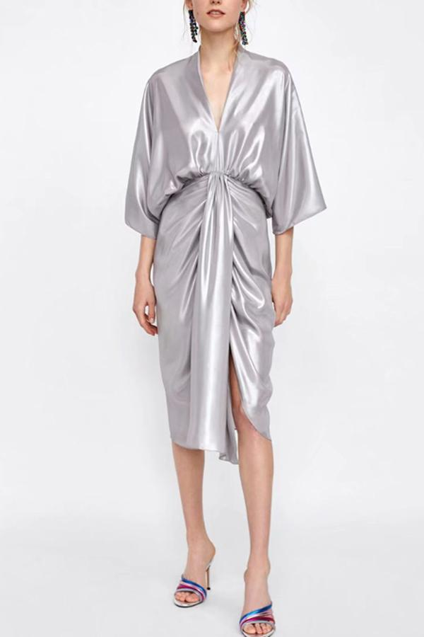 Metal Department Wasit Maxi Dress silver s