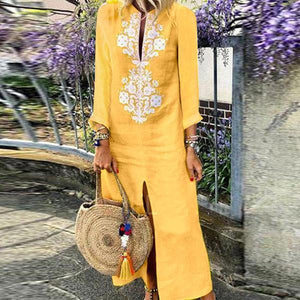 Casual Cotton Linen Long Sleeves Vintage Dress yellow m