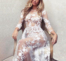 Fashion Lace Sexy Perspective Round Collar Maxi Dress