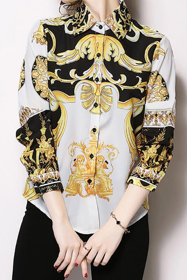 Fashion Print Sleeve Shirt white s