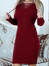 V-neck Knit Bandage Midi Dress