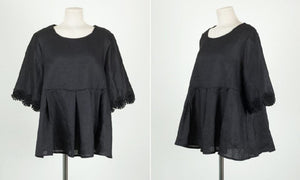 Casual Lace Round   Collar Bell Sleeve Flax Shirt Blouse Black l