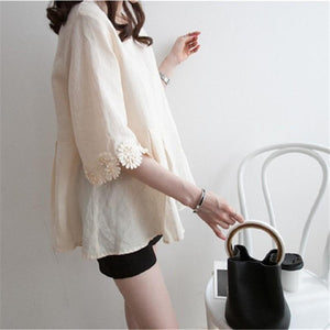 Casual Lace Round   Collar Bell Sleeve Flax Shirt Blouse Apricot l