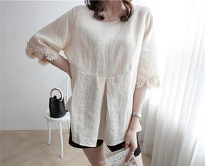Casual Lace Round   Collar Bell Sleeve Flax Shirt Blouse Apricot xl