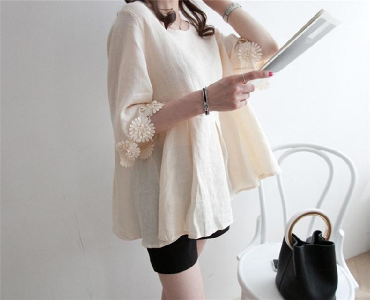 Casual Lace Round   Collar Bell Sleeve Flax Shirt Blouse Black 2xl
