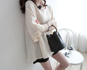 Casual Lace Round   Collar Bell Sleeve Flax Shirt Blouse Apricot 2xl