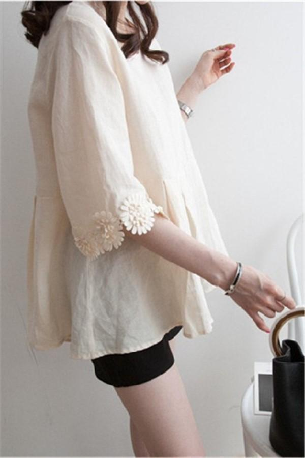 Casual Lace Round   Collar Bell Sleeve Flax Shirt Blouse Apricot m