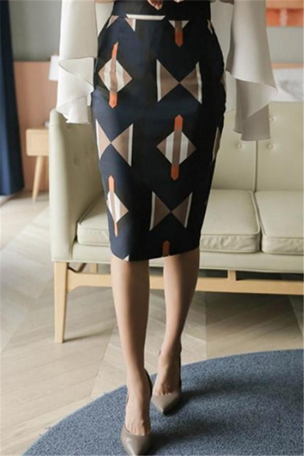 Casual Geometric   Patterned Shown thin Half length Skirt Blue s
