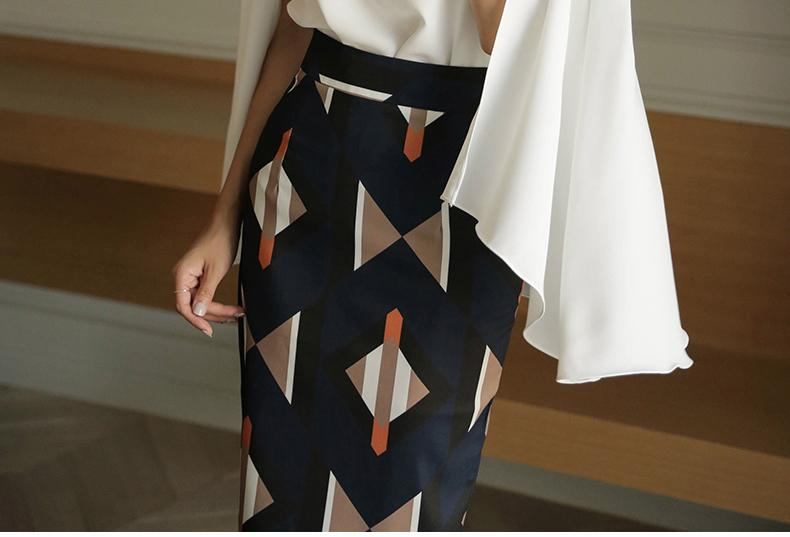 Casual Geometric   Patterned Shown thin Half length Skirt Blue xl