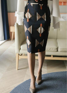Casual Geometric   Patterned Shown thin Half length Skirt Blue m