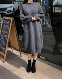 Casual Loose Bat   Sleeve Knitted Sweater Shown thin Maxi Dress Gray l
