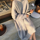 Casual Loose Bat   Sleeve Knitted Sweater Shown thin Maxi Dress White xl