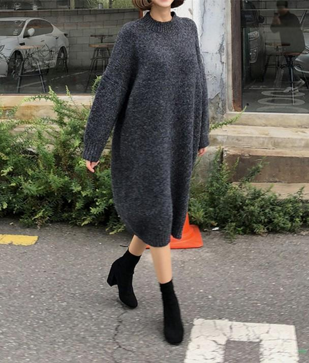 Casual Loose Bat   Sleeve Knitted Sweater Shown thin Maxi Dress Black m
