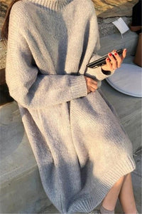 Casual Loose Bat   Sleeve Knitted Sweater Shown thin Maxi Dress White m