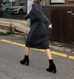 Casual Loose Bat   Sleeve Knitted Sweater Shown thin Maxi Dress Black xl