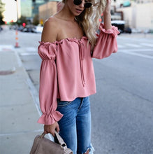 Fashion Sexy Pure Color Thin One Word Collar With A Bow Backless Top T-Shirt