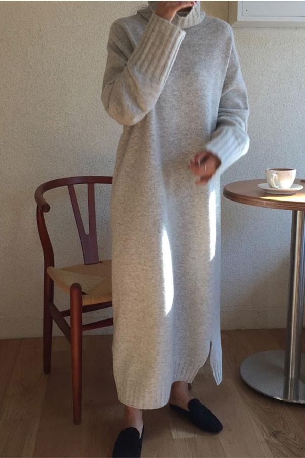 Casual High collar   long Shown thin knitted sweater Maxi dress Camel one size