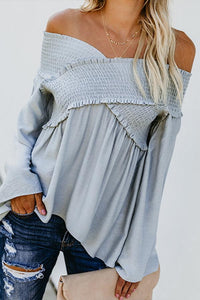 Elastic Off Shoulder Long Flare Sleeve Plain Pleated Loose T-Shirts Gray s