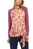 Fashion Round Collar Leopard Printed Blinding  Shirt Black s