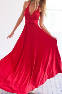 Multi-Way Plain Empire Evening Dress red s