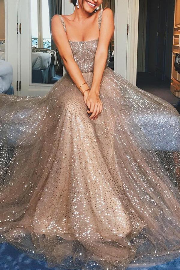 Sexy Elegant Sequin Sleeveless Maxi Evening Dress champagne s