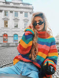 Multicolor Striped Knitting Sweater Tops MULTICOLOR FREE SIZE