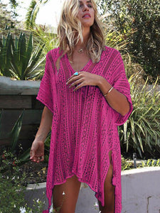 Loose Hollow Vacation Half Sleeve V Neck Beach Cover-Ups RUST RED FREE SIZE