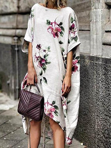 Floral Printed Loose Midi Dress WHITE M