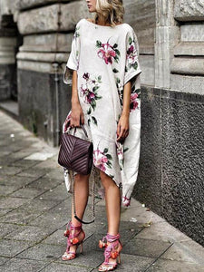 Floral Printed Loose Midi Dress WHITE S