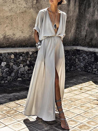 Deep V-neck Maxi Shirtdress SLIVER GRAY S