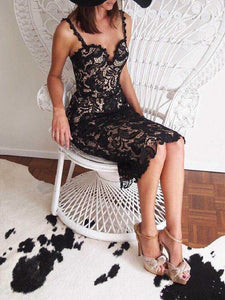 Beautiful Lace Thin Straps Sweet Heart Bodycon Midi Dress BLACK M