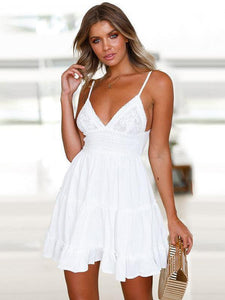 Spaghetti-neck V-neck Waisted Mini Dress WHITE XL