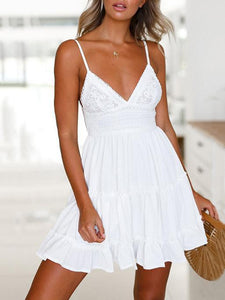 Spaghetti-neck V-neck Waisted Mini Dress WHITE S